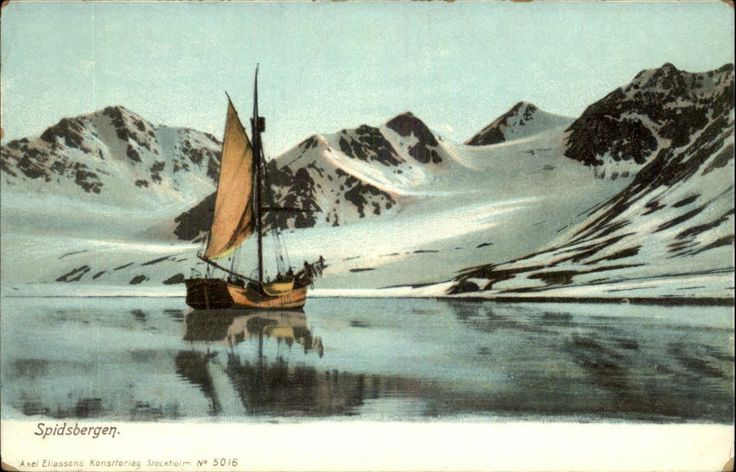 Spidsbergen Nnorway Sailing SHIP Sailboat Snow Capped Mountains c1910 PC | eBay