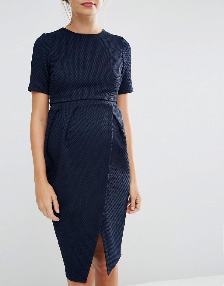 ASOS Maternity | ASOS Maternity Double Layer Textured Wiggle Dress at ASOS