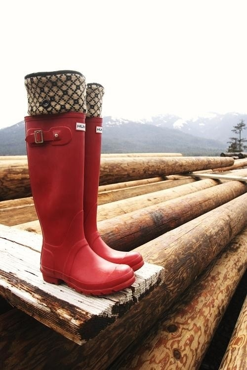 Hunter Boots in the forest.