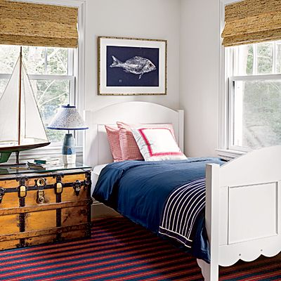 Nautical Guest Room - Coastal Colors: Red, White, & Blue - Coastal Living