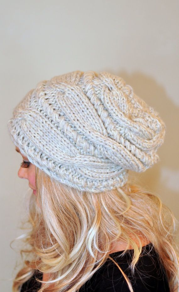 Women Hat Slouchy Hat Slouch Beanie Cable Hand Knit Winter  Women Teen CHOOSE COLOR Linen Ivory Off White Chunky Hand Knit Gift