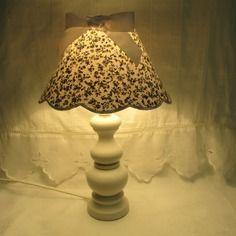 Lampe de chevet- pieds gris taupe patine blanc - abat-jour coloris au choix - fait main