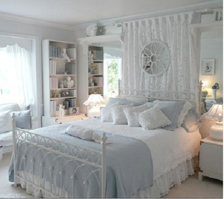 Such a beautiful powder blue and white shabby chic bedroom. Love the use of a curtain behind the bed! Gorgeous. Very feminine and pretty.