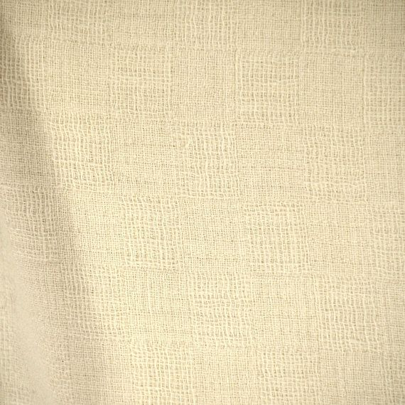 Semi-Sheer Cotton Fabric with Green Leaves,Stems on a Cream Background 45 Wide 3 18 Yards Vintage Soft