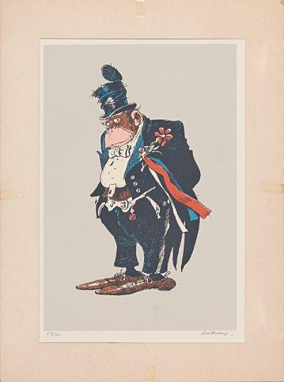 KJELL AUKRUST  Emanuel Desperados Fargeserigrafi, 255/300, 37x24 cm Signert nede til høyre: Aukrust