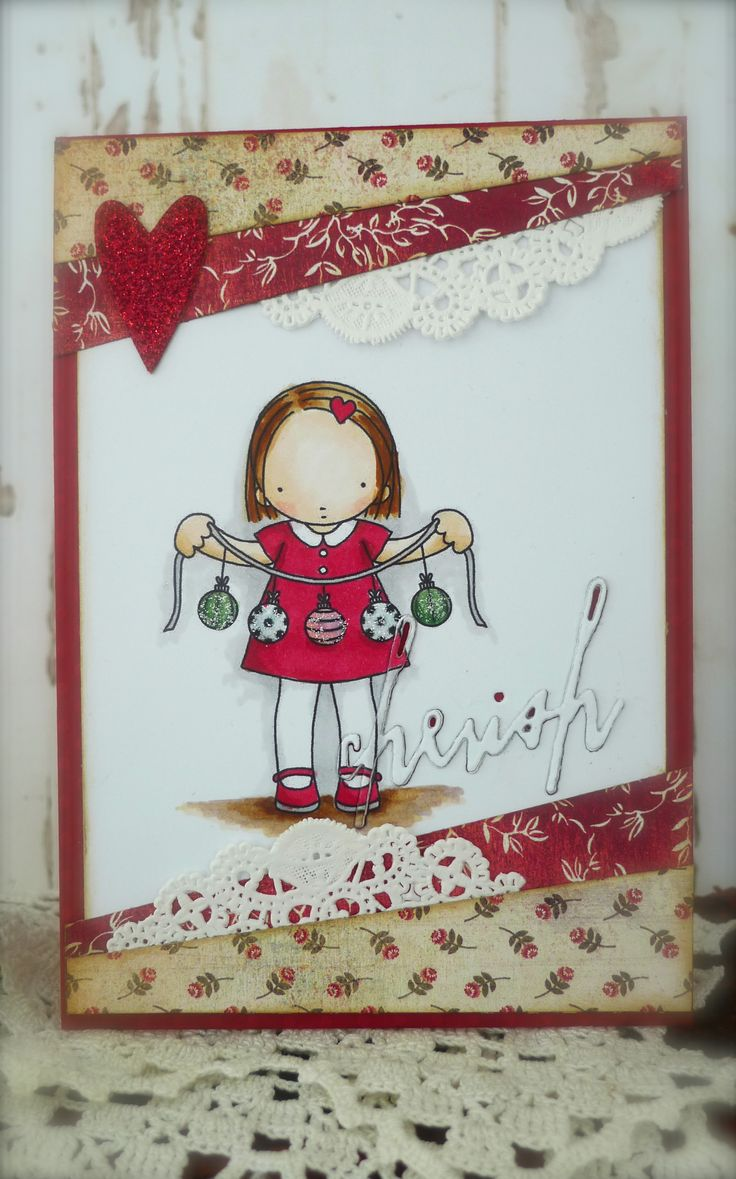 Heather Ellis image, Christmas card, Copics, Synnøves papirverksted
