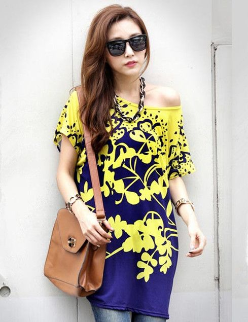 T-shirt Yellow Flowers Batwing Long Style( Issue)