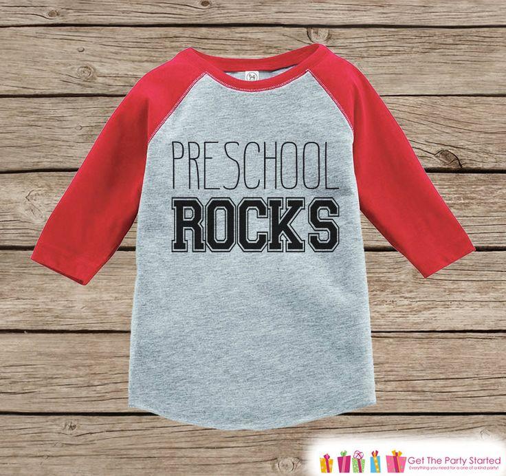 Boys School Tshirt - Preschool Rocks Tee - Kids Red Raglan Preschool Rocks Outfit - Kids Preschool Shirt - Grey Back To School Top - Pre-K