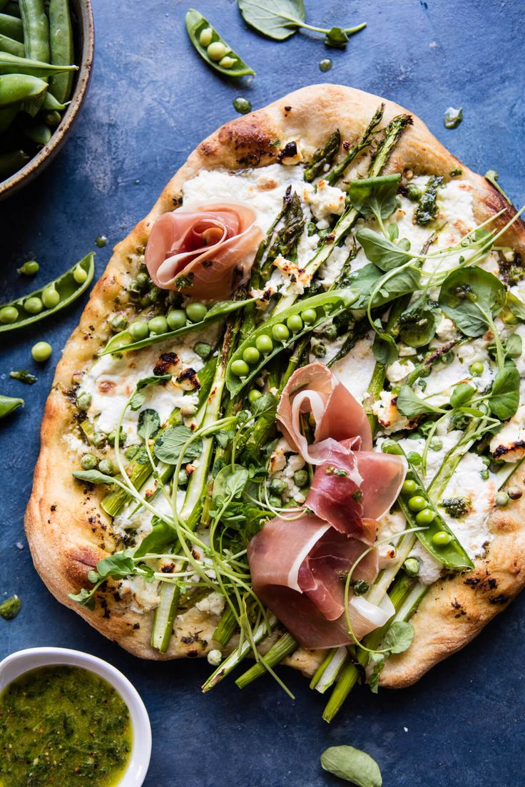 Super Green Pea and Asparagus Burrata Pizza | halfbakedharvest.com @hbharvest via @hbharvest