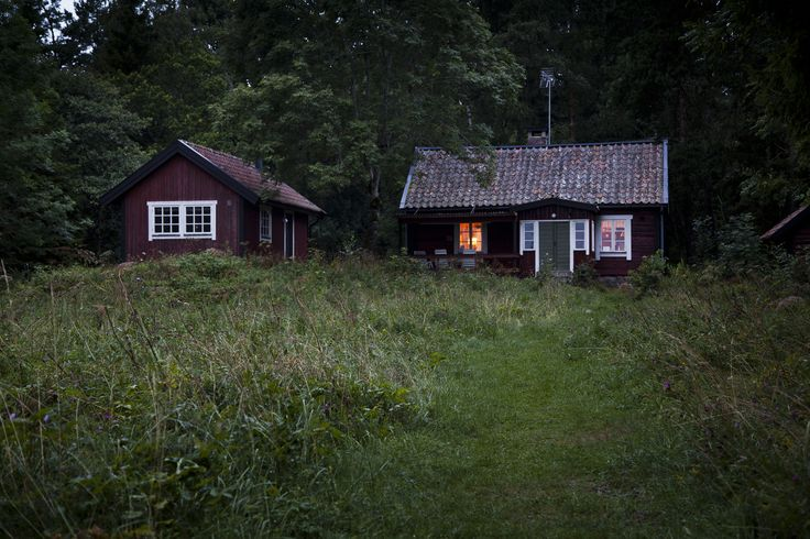 A small Swedish summer stuga at dusk. Located on the quiet island of Fälön, which lies north of Stockholm