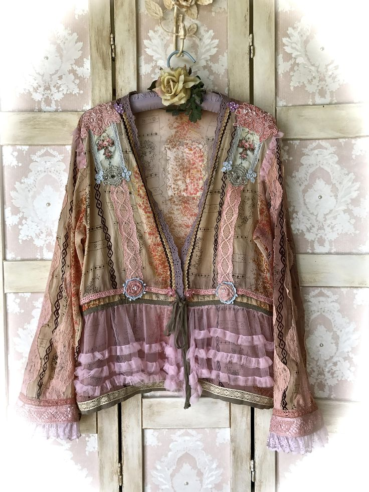 Rococo Baroque French Pink Shabby Chic Collage Cardigan Shirt Marie Antoinette Tatter Fairy Size Large by IzzyRoo on Etsy