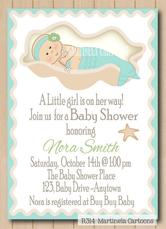 Mermaid baby shower invitation, sweet little mermaid girl DIY printable baby shower invite, African American baby available. on Etsy, $20.00