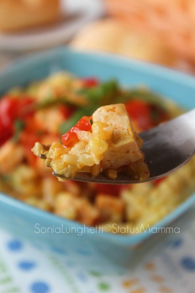 CEREALI ALLO ZAFFERANO POMODORINI E TOFU ricetta gustosa con verdure facile senza glutine e senza carne. http://blog.giallozafferano.it/statusmamma/cereali-allo-zafferano-con-pomodorini-e-tofu/ #Statusmamma #gialloblogs