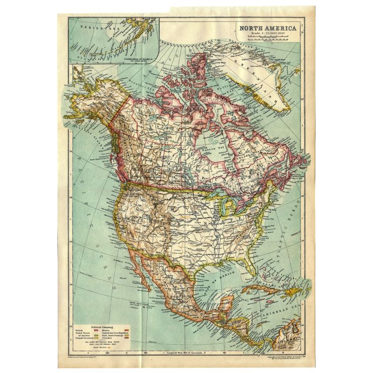 Instant Download Pre-World War I Antique Map: North America 1910, Full Color, USA, United States, Canada, Mexico, Guatemala, 280 megapixels by BadPennysVintage on Etsy