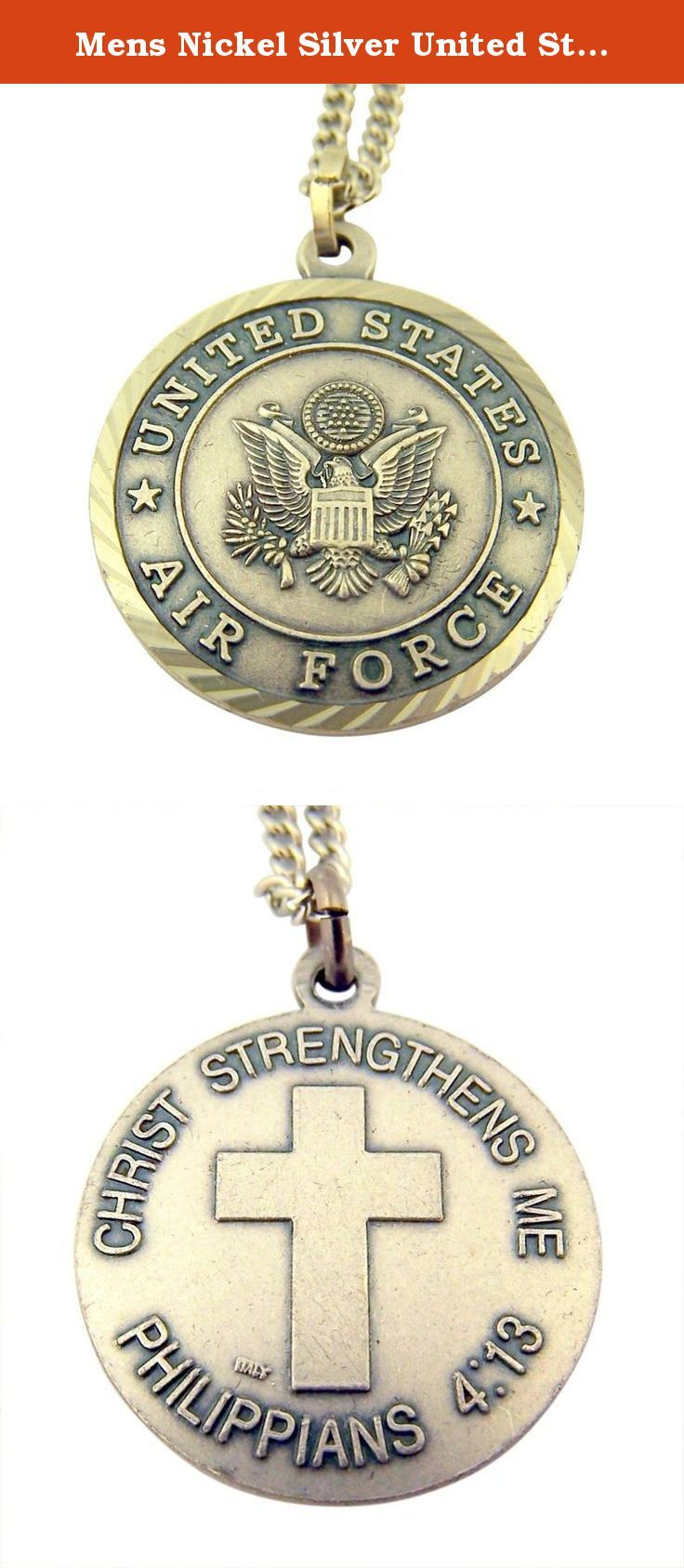Mens Nickel Silver United States Air Force Medal with Christ Cross Back, 1 Inch. Nickel silver United States Military medal pendant on stainless steel chain. Back features Christ Strengthens Me Philippians 4:13 back. Packaged in jewelry gift box.
