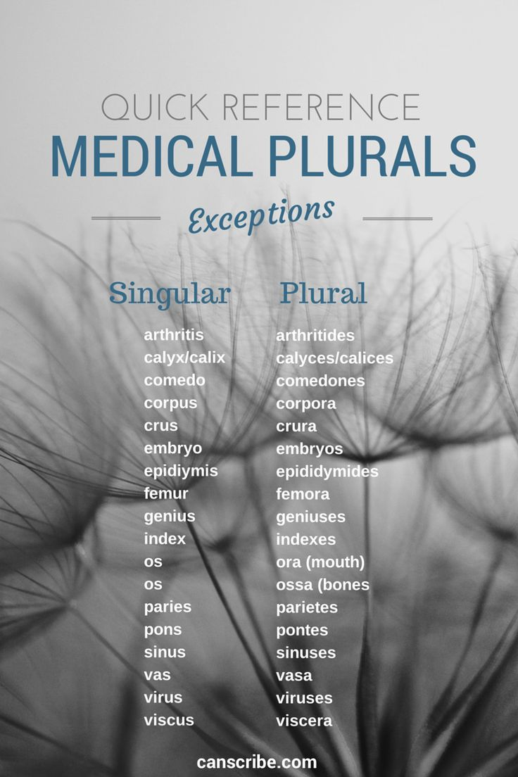 complete list of medical plural exceptions. http://canscribe.com/medical-plurals-exceptions/