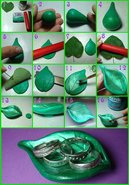 How to Make a Polymer Clay Leaf Ring Dish - link to the Tutorial: http://totallytutorials.blogspot.co.at/2011/09/tutorial-how-to-make-polymer-clay-leaf.html