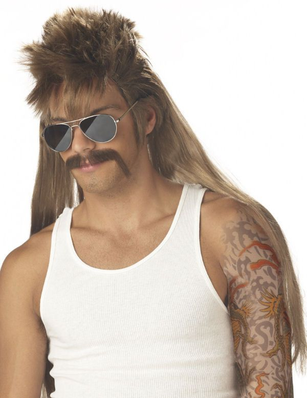 Mullet Wig and Moustache Dirty Mississippi Blonde