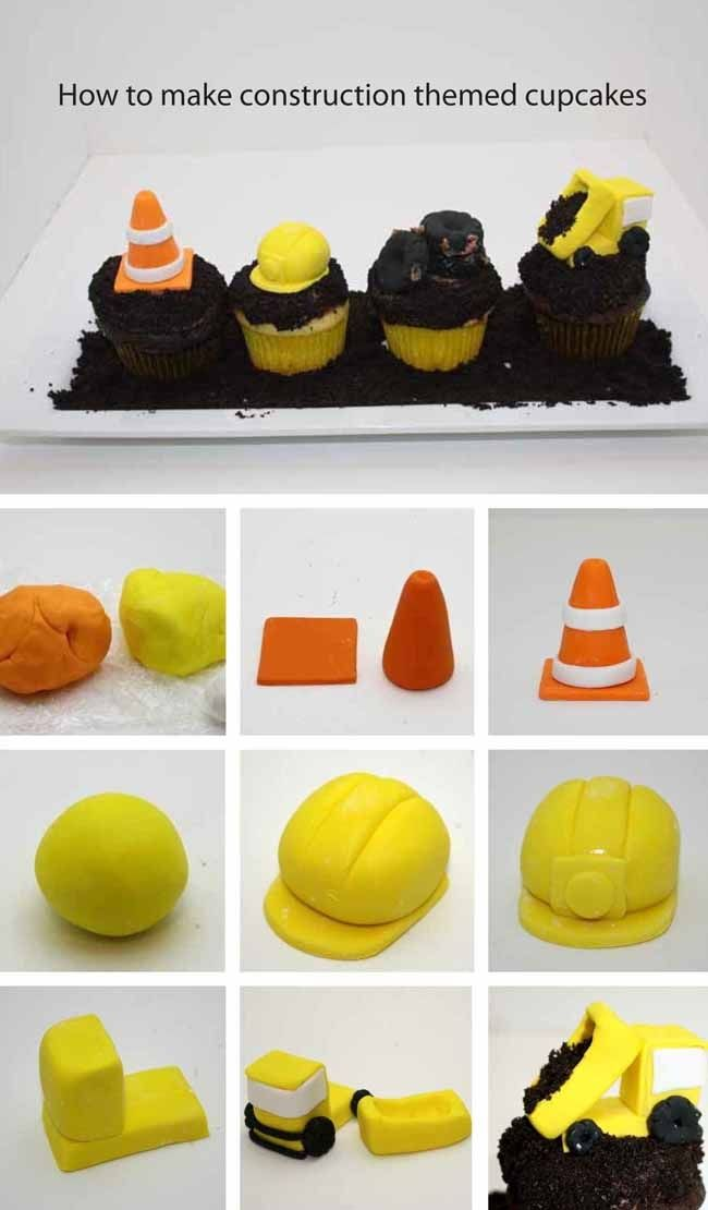 How to Make Fondant Construction Party Cupcakes - This tutorial makes it so easy!!!! www.spaceshipsandlaserbeams.com