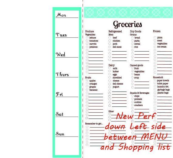 Modern Grocery List Magnetic Notepad and Menu Planner - 52 week menu planner