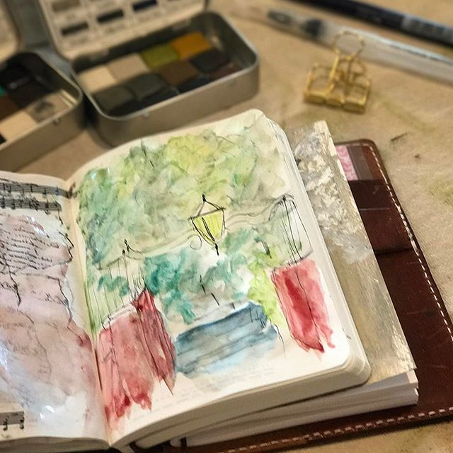 Springtime means the leaves on the trees will soon be a green canopy in our lovely parks. . . . . #arteveryday #ideabook #doodleart #inktense #inktensepencils #midoritravelersnotebook #travelersnotebook #journallove #midori #artjournal  #moderncalligraphy #washitape #spring #gratitudejournal #midori #mixedmedia  #moleskine #errandrunner #florals #sketch #illustration #floralart  #dailydrawingflowers #chicsparrow #foxyfix #speckledfawns #galenleather