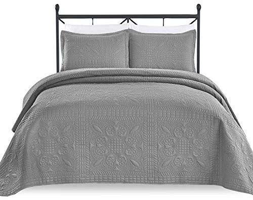 Luxe Bedding 3 Piece Oversized Quilted Bedspread Coverlet Set King Calking Spring Gray Coverlet Set Bed Spreads White Table Cloth