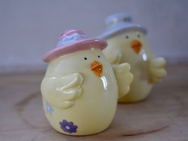 Ceramic Salt and Pepper shakers, yellow chicks, pink hat, blue hat, 1970's flowers, housewarming gift, wedding present, quirky birthday gift