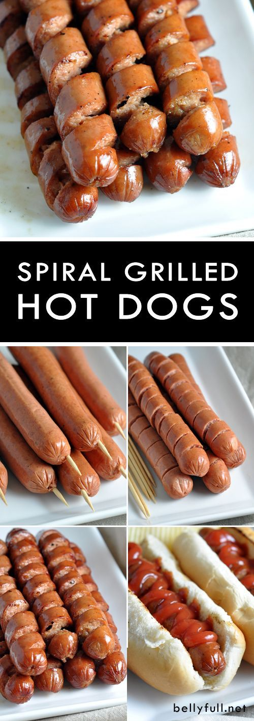 Spiral Grilled Hot Dogs - take your grilled hot dogs up a notch, by spiral cutting them! Easy to do, more surface area to caramelize, and just plain fun!