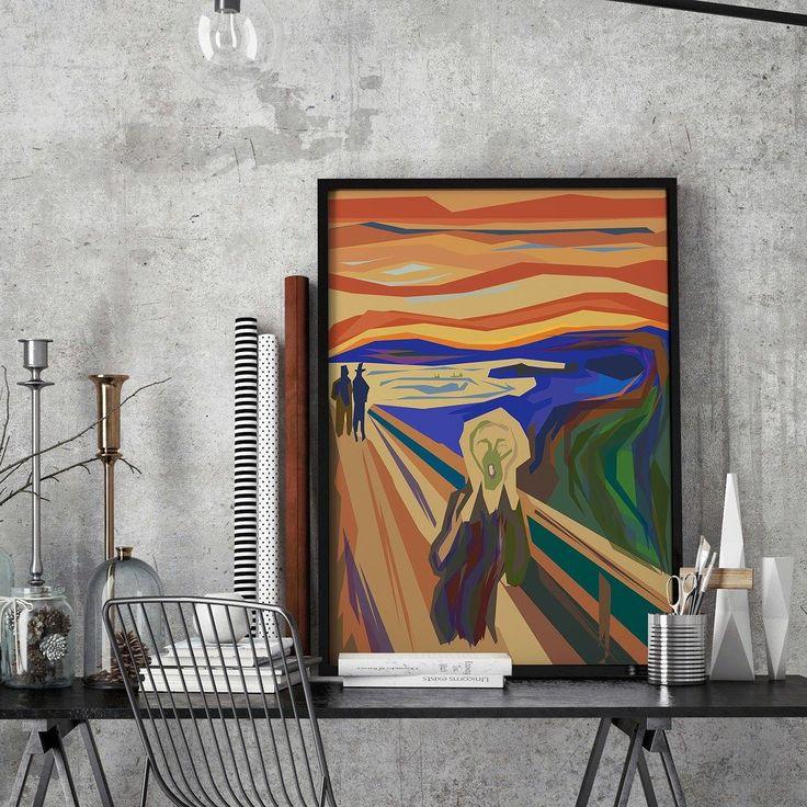Skrik er et av Edvard Munchs mest berømte bilder og en av Norges sentrale kunstskatter. Bildet finnes i fire originalversjoner hvorav to tilhører Munch-museet ett Nasjonalgalleriet og det siste ble auksjonert bort til en hemmelig kjøper i 2012. Vi har laget vår egen versjon basert på orginal bilde vil dere ha dette eller vil dere et med mer farger?