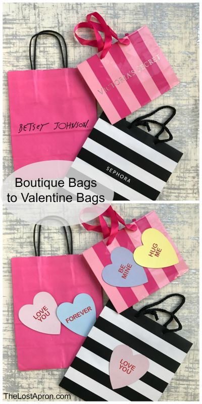 DIY Valentine's Day Gift Bags. Giving Valentine's Day gifts to friends and family is such fun. Simple gifts of candy can mean so much. Costs of gifts can be burdensome when you add the cost of wrapping. These bags are virtually free because they are made from boutique store bags. -- The Lost Apron