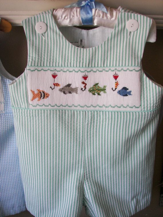 BOYS Smocked Jon Jon Romper Overalls Gone Fishing by reetmomma, $52.00