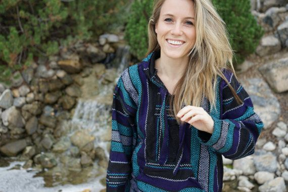 Drug Rug Hoodie Mexican Threads Baja Hoodie Pullover Sweatshirt   Baja Jacket Poncho Jerga Purple Grey   Boho Gypsy