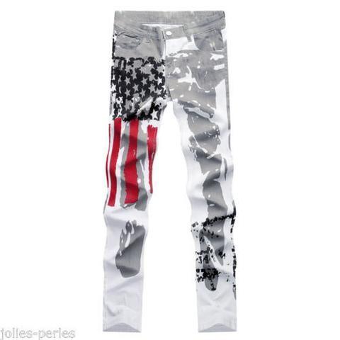 JP Men Slim American USA US Flag Printed Jeans Graffiti Casual Denim Trousers