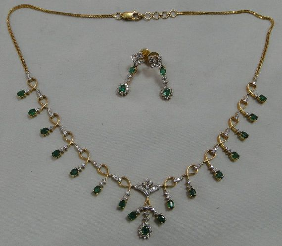 Vintage 18 K solid gold Diamond Emerald Necklace by   TRIBALEXPORT, $3999.00