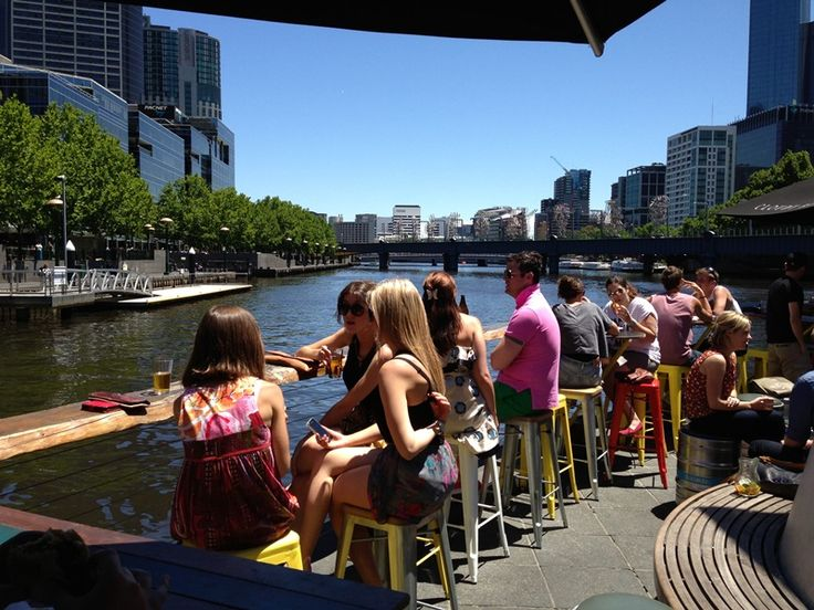 Pony Fish Island Bar in the middle of the Yarra.   Southbank Pedestrian Bridge,  Melbourne VIC 3006