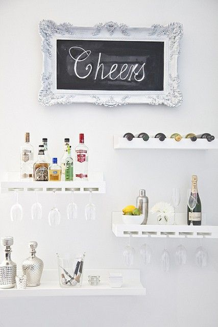 space saving cocktail display.: Dining Rooms, Chalkboards, Idea, Floating Shelves, Wall Bar, Spaces Save, Bar Area, Home Bar, Bar Carts