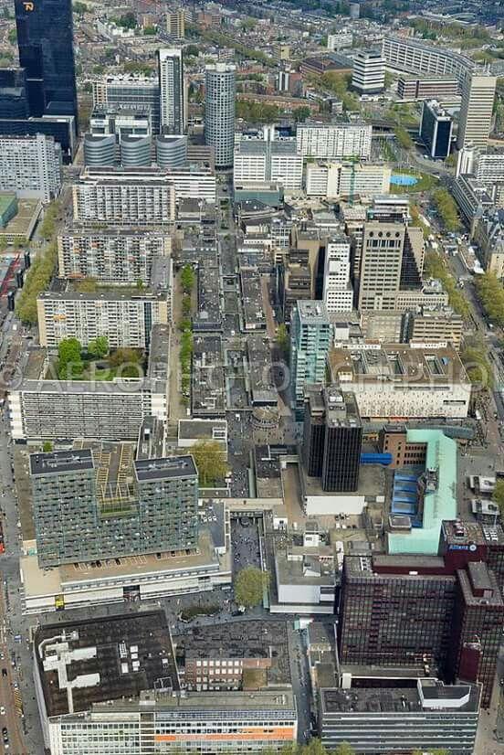 Luchtfoto van de lijnbaan en omgeving 2016