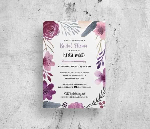 purple floral watercolor bridal shower invitations // custom // digital file