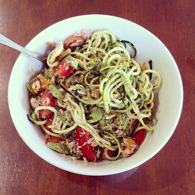 #raw zucchini pasta with steamed pumpkin and mushrooms, tuna and tomato smothered in avocado with rosemary and a drop of balsamic, soo good  #myfood #lunch #healthy #fitfood #nourish #fitspo #nutrients #goodforyou #healthylifestyle #lowcarb #pasta #zucchininoodles #vegetarian #glutenfree #creamy #healthyfats #soyum #cleanfood #cleaneating #nutritious #cleanlunch #eattolive #protein #tomato #pumpkin
