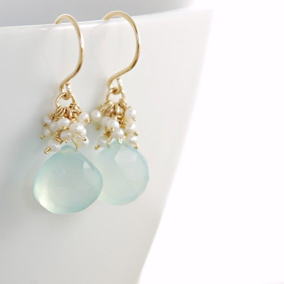 Seafoam Chalcedony Seed Pearl Earrings Handmade Gold by aubepine, $44.50