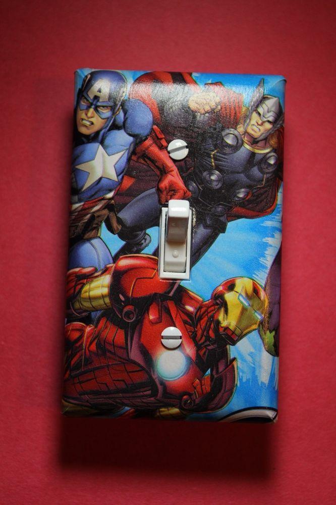 Avengers Captain America Thor Iron Light Switch comic book superhero room decor