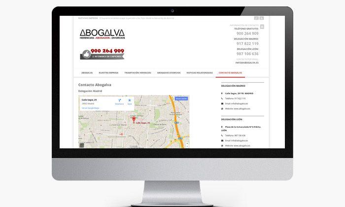 http://www.basicum.es/portfolio-item/diseno-web-abogados-abogalva/ Sección de Contacto para web de abogados creado por Basicum.es
