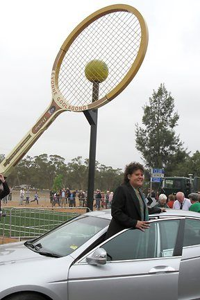 NSW - Barellan - The Big Tennis Racket - The 'Big Tennis Racquet' erected in the Evonne Goolagong Park, Yapunyah Street, Barellan, was unveiled in October 2009 during the Barellan Centenary celebrations, as a tribute to the former Barellan local and great Australian tennis player, Evonne Goolagong Cawley. http://www.visitnsw.com/destinations/country-nsw/griffith-area/narrandera/attractions/barellans-big-tennis-racquet