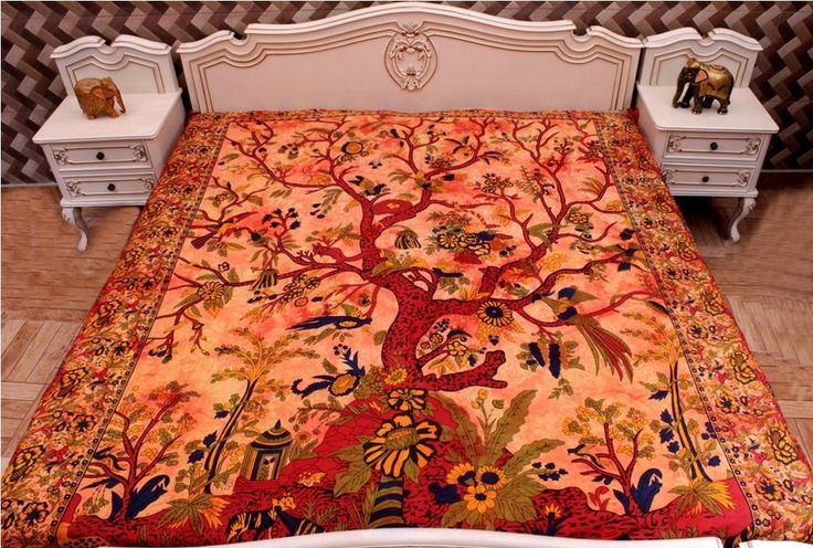 Indian Tree of Life Tapestry Orange Home Decor Wall Double Bed Cover & Bedspread #krishnacraftindia #Traditional