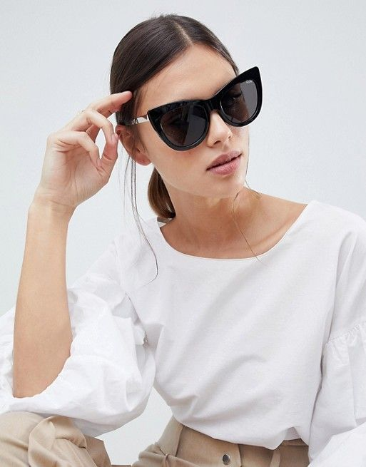 65e2e9ffedb4f Quay Australia Steal A Kiss cat eye sunglasses in black