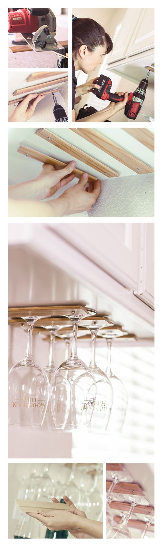 Make an easy wine glass rack out of T Molding!