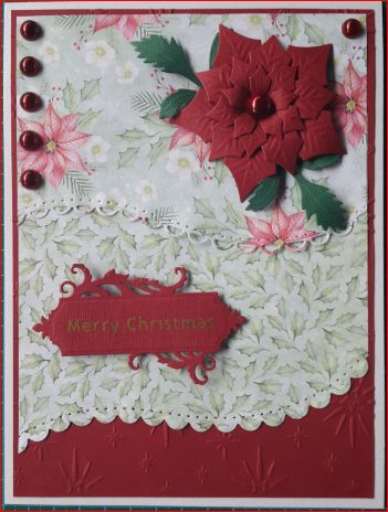 048_A5_Poinsettia with Lace Edge Backgrounds, Sentiment Tag and Pearls. Handmade by Diane Prinsloo (Lubbe).