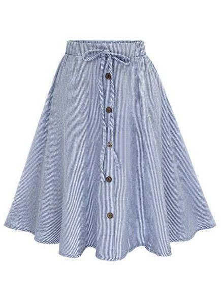 Falda a rayas con botones -azul-Spanish SheIn(Sheinside)  13,56€
