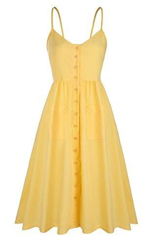 Angashion Women's Dresses-Summer Floral Bohemian Spaghetti Strap Button Swing Down Midi Dress with Pockets Yellow 1 M