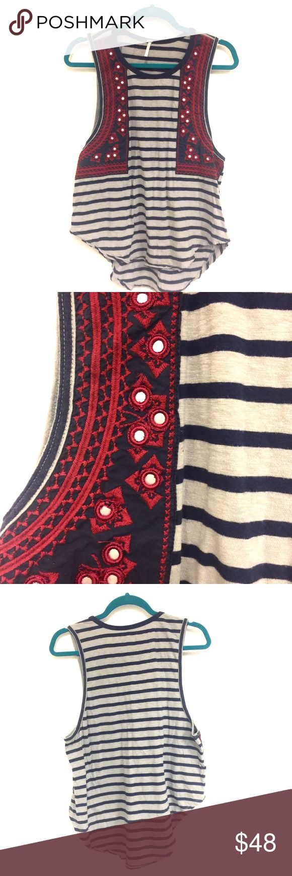 🍄 FREE PEOPLE 🍄 Mirrored Embroidered Stripe Tee • FREE PEOPLE • Navy and Gray Striped Tank • Navy and Red Embroidered & Mirrored Embellishments • EUC / Excellent Used Condition • Slouchy / Oversized Fit • US Women's S/P Small Petite • Perfect Item to add to a Summer Bohemian Outfit • Free People Tops Tank Tops